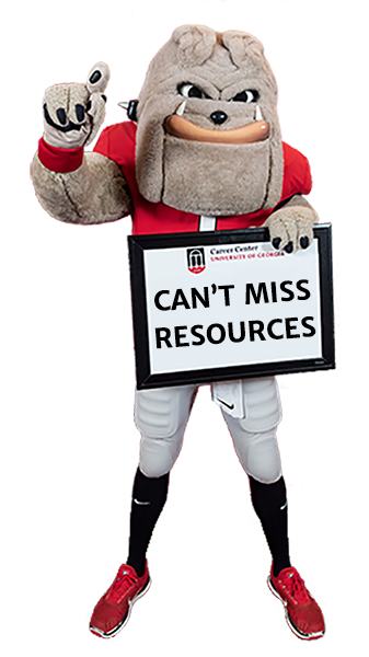 Hairy Dawg holding sign that reads - can't miss resources