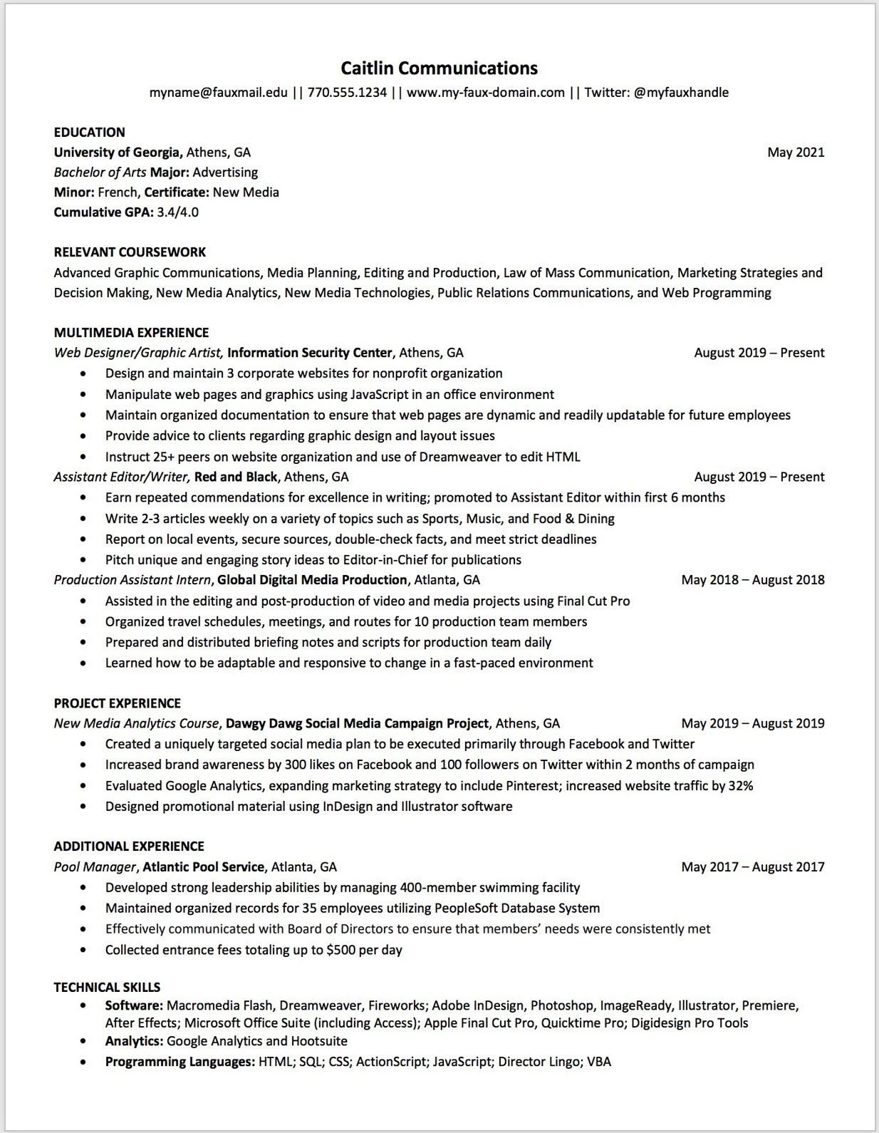 Communications resume template