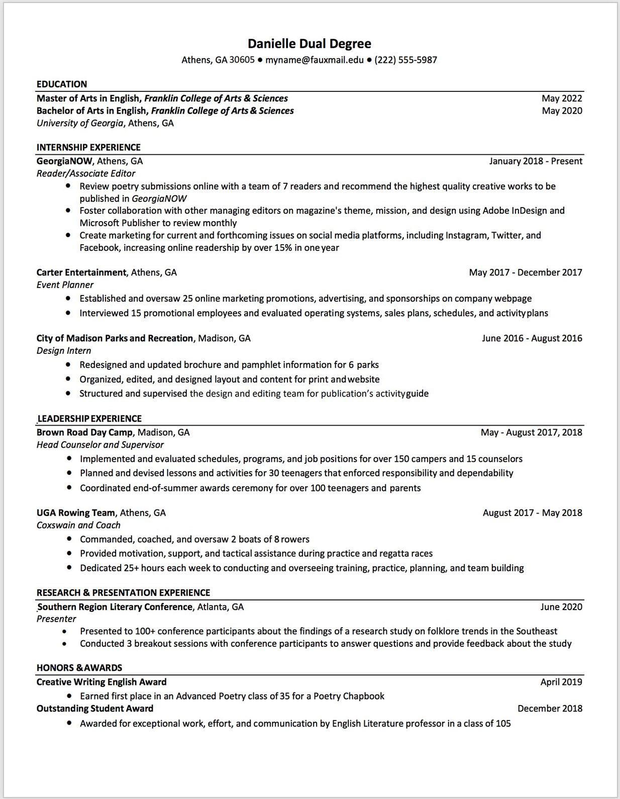 Double dawg resume template