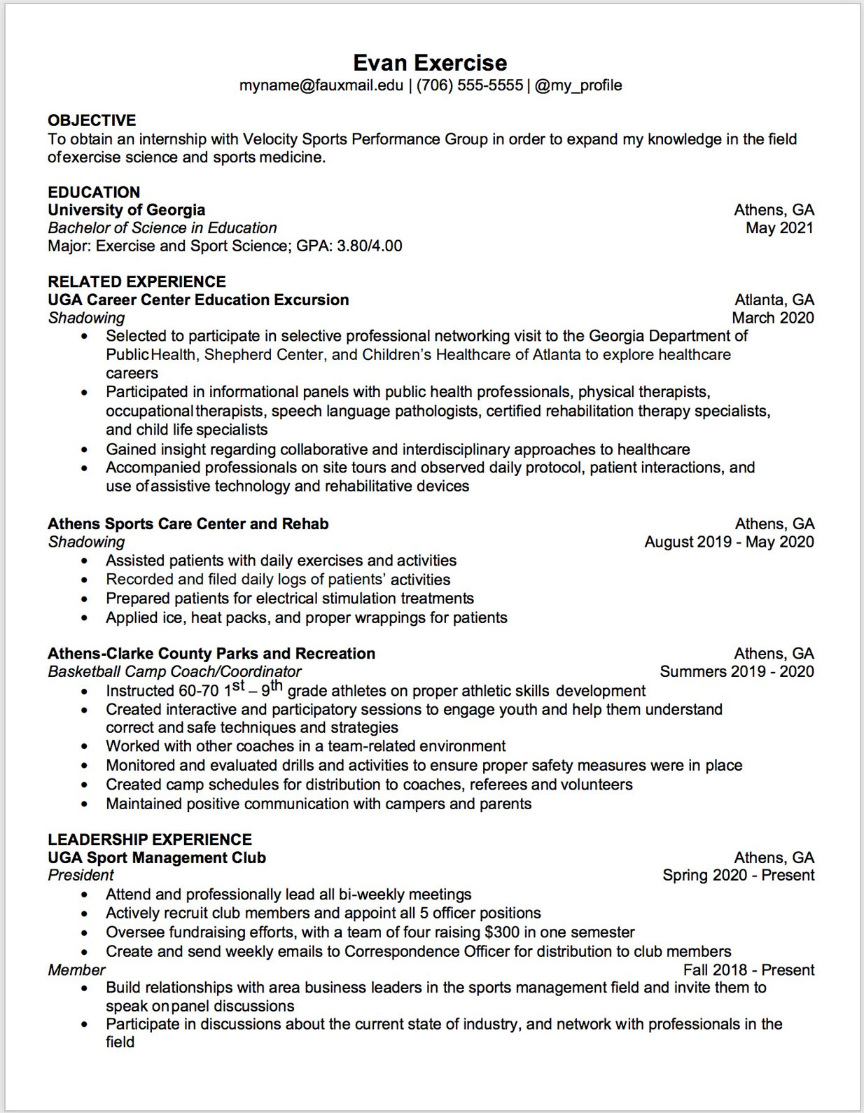 Health-related resume template
