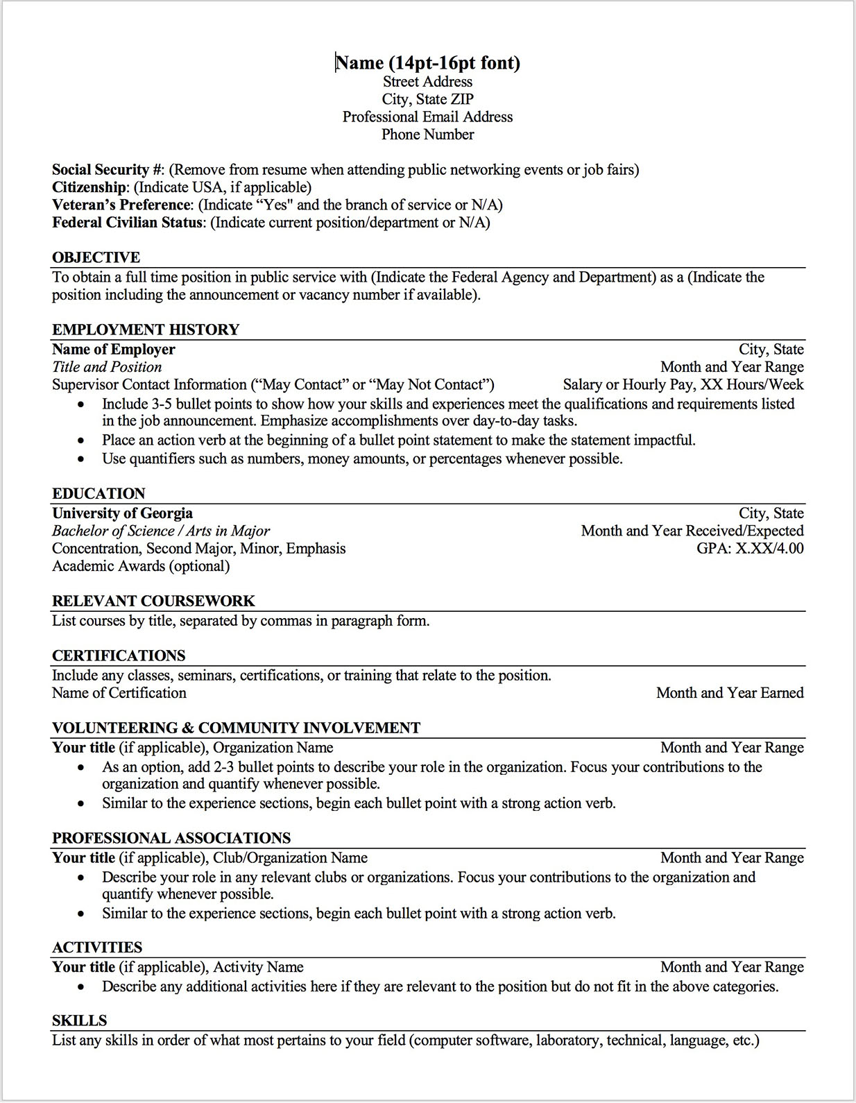 Additional Coursework On Resume Federal