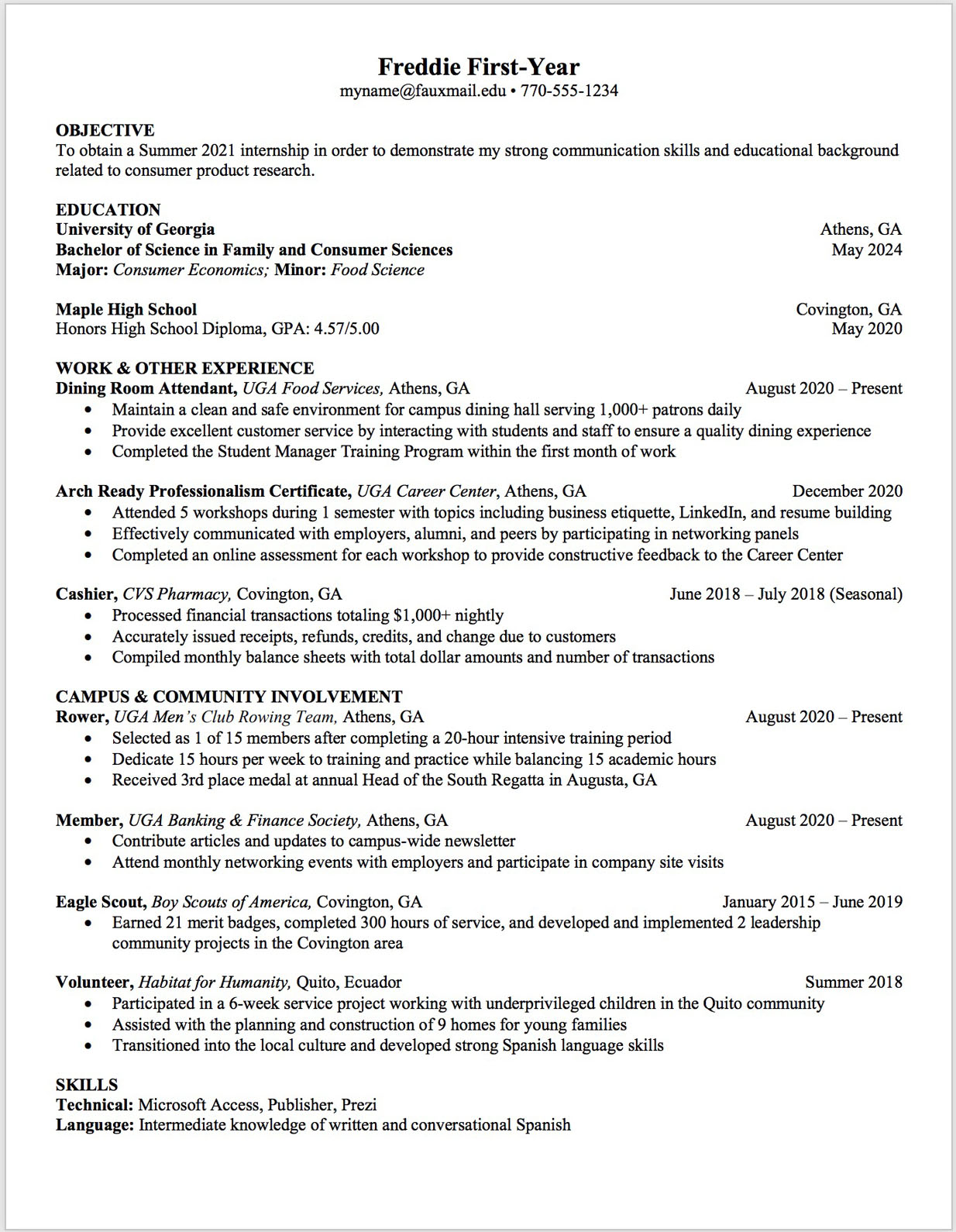 First year resume template