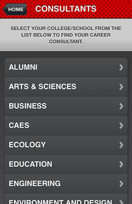 UGA Career Center app for iOS